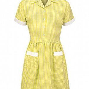 Summer Corded Gingham Dress (Yellow)