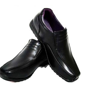 US Brass COMET Junior Boys Slip On Black Shoes